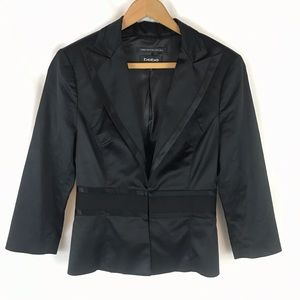 BEBE Black Italian Made Silk Jacket Blazer Sz 2